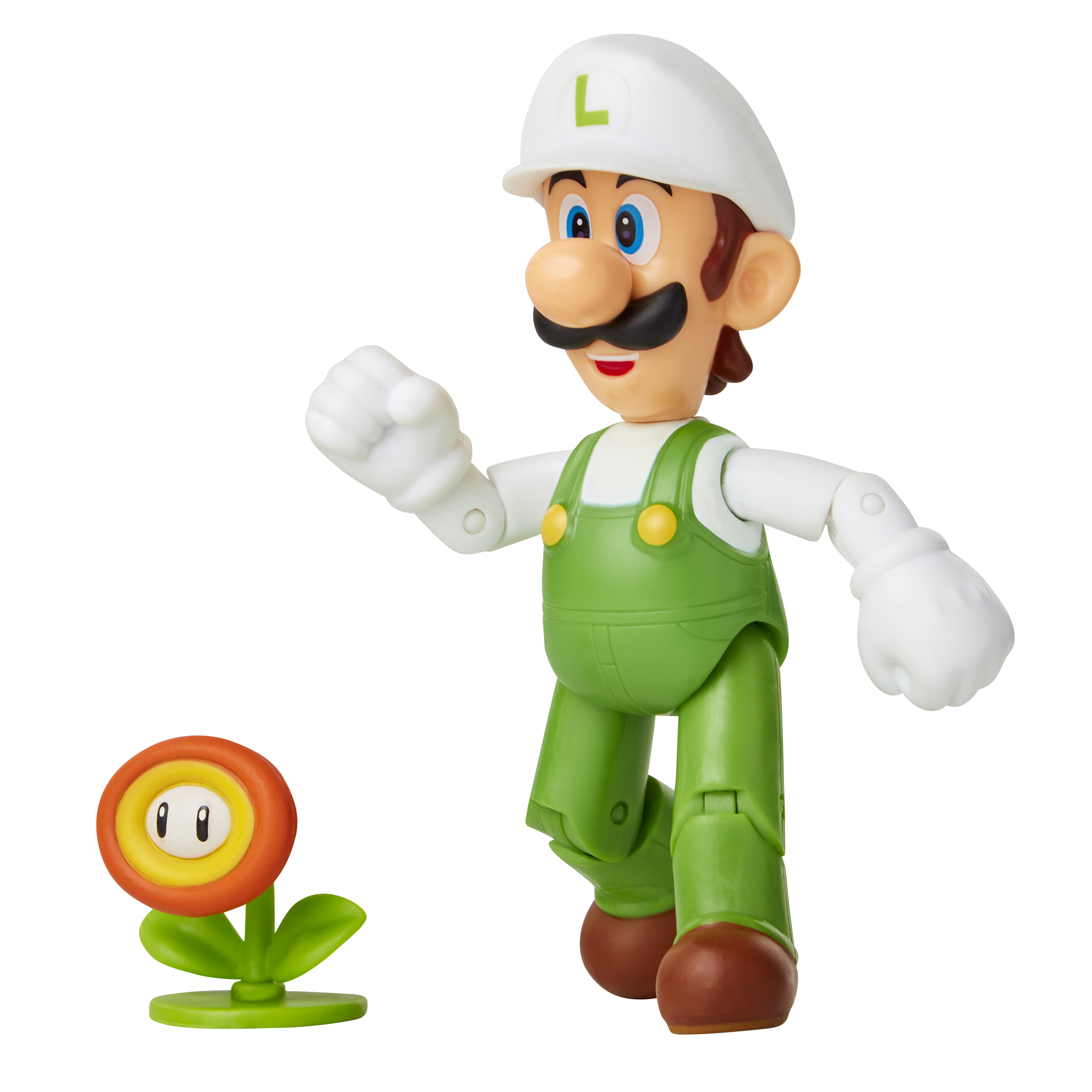 Super Mario 4 Figure Fire Luigi w/ Fire Flower