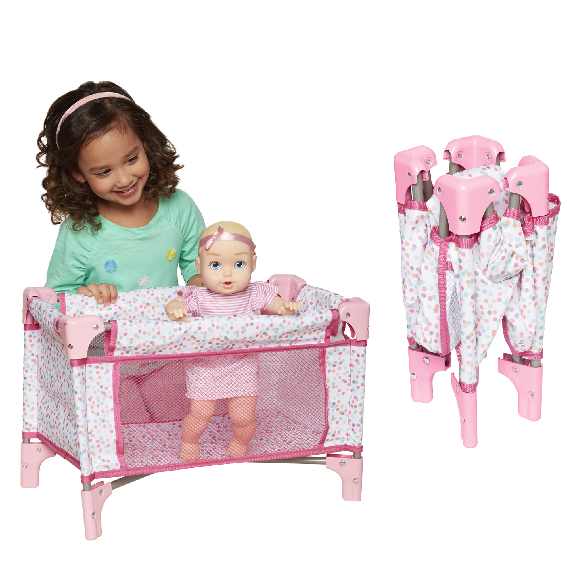 Perfectly Cute Baby Doll Folding Crib & Playard